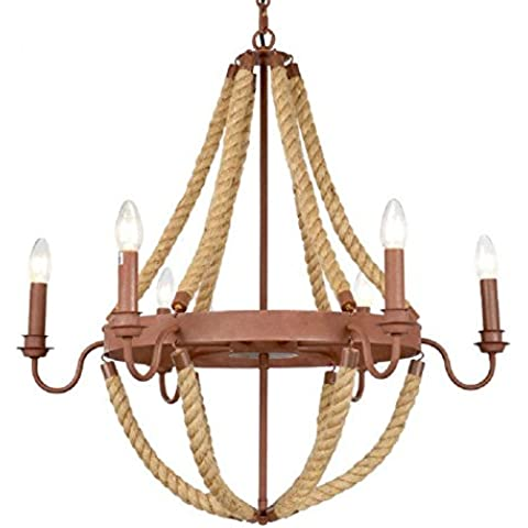 Modylee Corda lampadario ristorante americano vita di campagna camera da letto lampadario retrò lampadario color (Filigrana Pendente Di Montaggio)