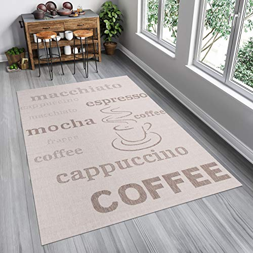 Tapiso kitchen tappeto sisal cucina sala da pranzo salotto moderno grigio beige crema stampa caffè indoor 80 x 150 cm