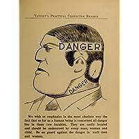 Vintage anatomia c1902 frenologia, un pericoloso FACE, in pratica Vaught, con lettore schede, formato A3, 250 g/mq, riproduzione