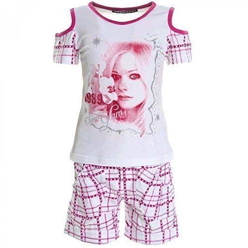 Kinder Mädchen Freizeit Kurzarm Shirt Jogging Hose Outfit 2tl Set Kleidung 20461, Farbe:Pink;Größe:104 (Outfit Sommer Capri Set)