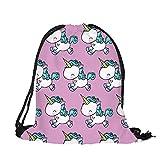 Gemini _ Mall unicorno con cordoncino zaino stampa 3D party bag scuola zaino da viaggio, palestra, zaino, borsa a tracolla, Light Purple
