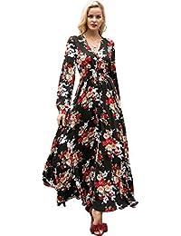 e76891107341 Missy Chilli Damen Lang Schwarz Kleid Elegant Langarm V-Ausschnitt Blumen  Boho Maxi Kleid Strandkleid Dress mit…