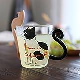 Tassen & Untertassen Tassen- & Untertassensets Paarkatzen-Glasschale hitzebeständige Milchtee-Kaffeetasse Kreative Liebhabergeschenke (Color : B)