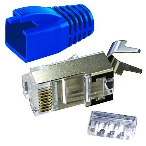 Ligawo VLS2 Netzwerk Stecker für Verlegekabel Cat.7 bis AWG22 (1 Stück) + Tülle blau
