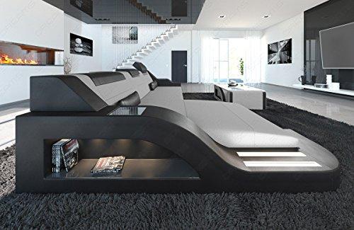 Sofa Dreams Plastique Basse Matériau Mix Palermo en Forme de L Gris Clair/Noir