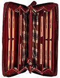 Hill Burry Echt-Leder Damen Herren Geldbörse | XXL Vintage Organizer aus hochwertigem echtem Leder - Reisebrieftasche | Portmonee Mappe – Travel Wallet | Portemannaie – Kreditkartenetui (Rot)