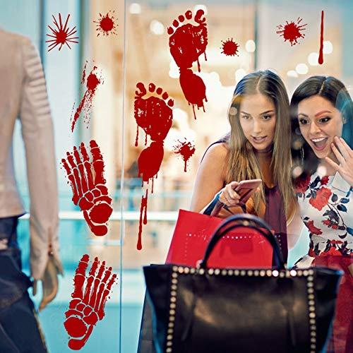 Terror Blut Handabdruck Halloween Wandaufkleber Blut Footprint Windows Aufkleber Neueste Halloween Dekoration Urlaub ()