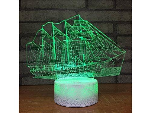 OVVO Segelboot 3D Optical Illusion Dekorative Nachtlicht 7 Farbwechsel Touch Tisch Schreibtischlampe USB Powered Lamp Schlafzimmer Dekorative