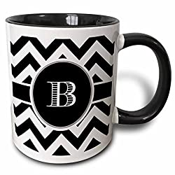 3dRose mug_222064_4 Black and White Chevron Monogram Initial B Two Tone Black Mug, 11 oz, Black/White