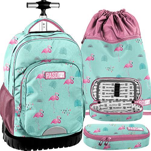 Paso fenicottero blu-rosa set grande zaino con ruote trolley xxl,astuccio, sacca sport scuola media, elementare, ragazza, bambina