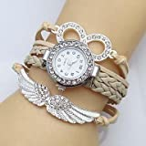XKC-watches Relojes de Mujer, Banda de Tejido de Cuero Infinito ala Cristal del Reloj de Las Mujeres (Color : Beige, Talla : para Mujer-Una Talla)
