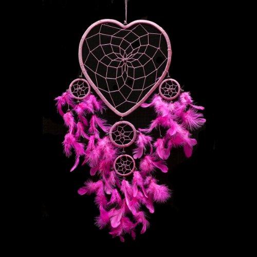 Atrapasueños Hecho A Mano Corazón Forma Luz Rosa 22cm De Diámetro