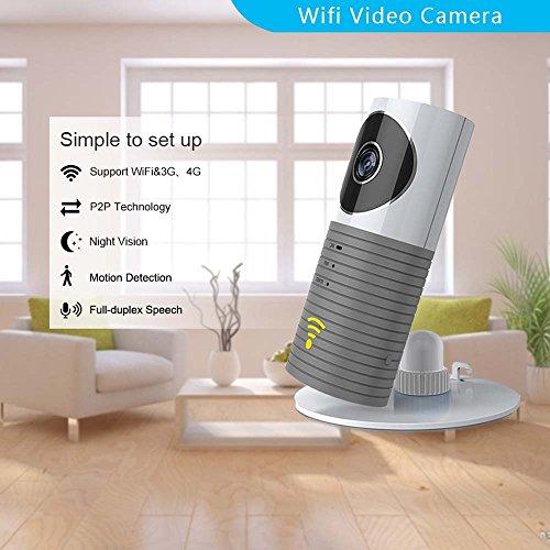 Clever dog Telecamere di sicurezza senza fili WiFi/Smart Baby Monitor/videocamera di sicurezza di sorveglianza con il P2P, visione notturna, registrazione video, audio bidirezionale, rilevazione di movimento, i messaggi di allarme per Iphone Ipad e smartphone Android (Grigio)