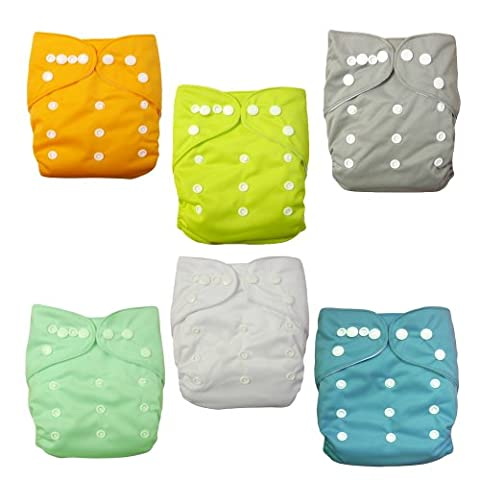 Alva Baby 6pcs Pack Pocket Washable Adjustable Cloth Diapers Nappies