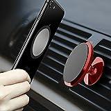 CLM-Tech Autohalterung für Handys, 360° Drehbar magnetischer Kfz Smartphone Halter Universal Auto Halterung [Zum Befestigen an der Lüftung] [Magnet für Handy und Handyhülle] [Farbe: Rot]
