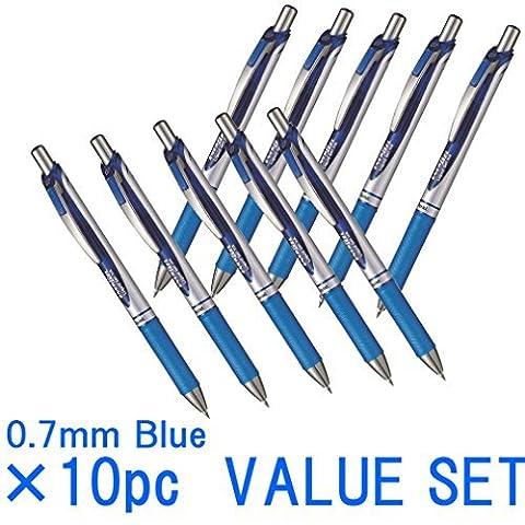 Stylo Gel liquide rétractable Pentel Energel Deluxe RTX, 0.7mm, fine line, pointe en métal, ink-value Bleu Lot de 10