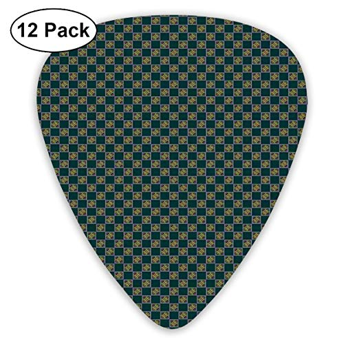 Rock Tile (Guitar Picks - Abstract Art Colorful Designs,Diagonal Motifs With Swirls And Stars In Square Frames Tile Arrangement Victorian,Unique Guitar Gift,For Bass Electric & Acoustic Guitars-12 Pack)