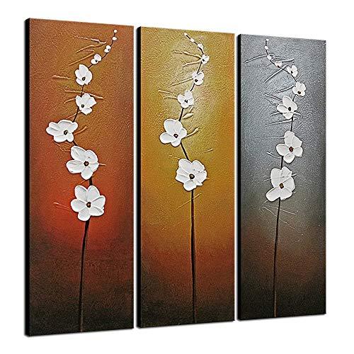 Wieco Art 3 Pannelli Astratti Floreali Olio su Tela Decorazione da Parete per la casa 100% Dipinta Mano Galleria Decorativa avvolta Moderna