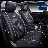 MAQLKC Autositz Leder Auto Sitzbezug Vier Jahreszeiten Allgemeinen Stil,Blackwithwhite