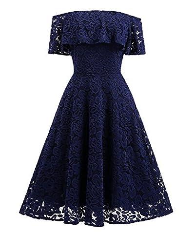 Spitzenkleid mit Carmen-Ausschnitt Knielang Vintage 50s, (Klandchic)Off Schulter Abendkleider mit