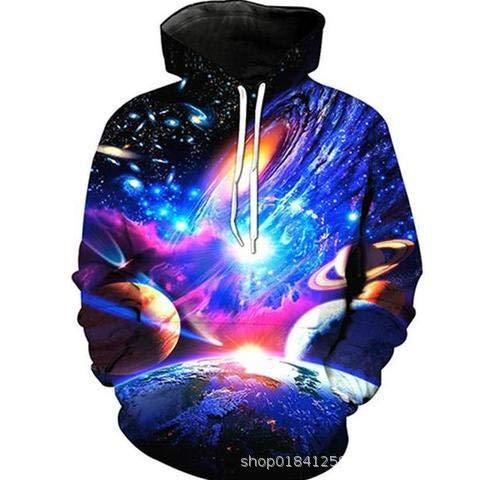 WEIYIDIDI 3D Digitaldruck Pullover Hoodie Galaxy Tasche Hooded Cap Pullover Frühling Herrenmodelle-L -