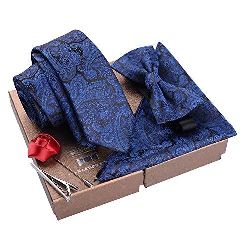 Chinashow Modische Premium Formale/informellen Krawatten Set, Krawatte/Fliege / Einstecktuch für Herren/Jungen, Paisley Navy Blau
