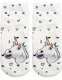 HENGSONG Femmes Licorne 3D Imprimé Cartoon Chaussettes Basse Cheville Chaussettes Casual Sport Sock Style 15