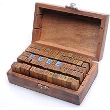 Set de 70 piezas de madera con todas las letras y números del alfabeto para sellar cartas - Estilo Vintage Sello