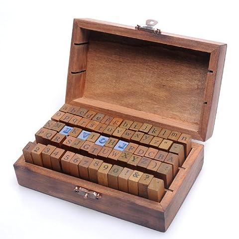 un ensemble de 70 pièces style vintage Tampons à imprimer numériques des lettres de l'alphabet en bois de caoutchouc - Stile Delle Lettere Set