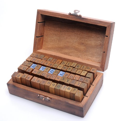 70 piezas de goma de madera estilo antiguo Las letras del abecedario...