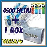 5000 cartine Rizla silver grigie corte + 4500 Filtri Rizla SLIM 6 mm +Accendino