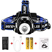 IMAGE LED Rechargeable Head Torch Headlight, 2 Ways for Charging, Super Bright Headlamp, Weatherproof & Adjustable, for Climbing, Camping, Fishing, Running (Include 2 * batteries & Battery Charger)