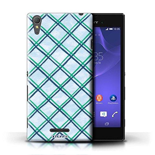 Kobalt® Imprimé Etui / Coque pour Sony Xperia T3 / Bleu/Violet conception / Série Motif Entrecroisé Vert/Bleu