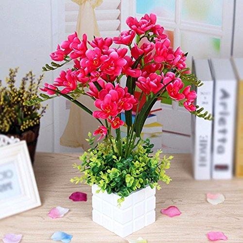 GBHNJ Artificial Flower GBHNJ Faux Fleurs Cadeau Table Basse Gala Simulation Plantes En Pot Plantes Fleurs En Soie Plastique Rouge Rose