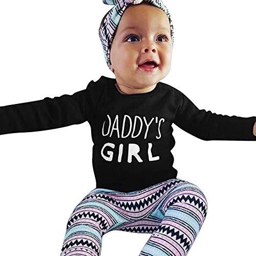Amphia - Kleinkind Baby Langarm Brief T-Shirt Top + Hosen + Stirnbänder Set Outfit - 80