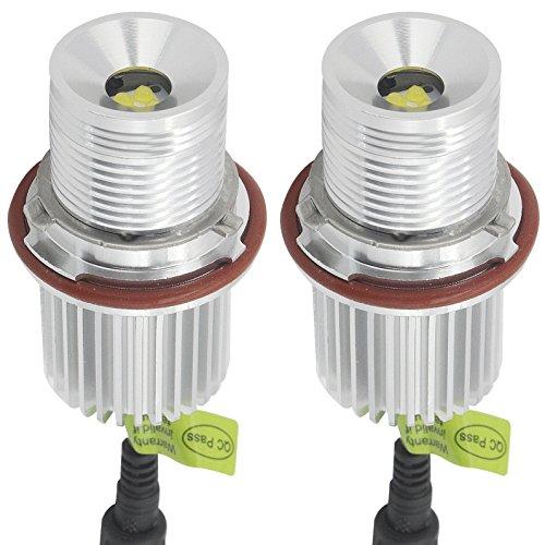 (B-M-W E39 / E60 Angel Eyes Halo Ring Lichter LED Marker Birne Canbus Fehlerfrei 40W Cree 6500K Weiß für B-M-W E53 / E61 / E63 / E64 / E65 / E66 / E83 / E87 Silber (2 Stück))