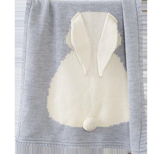Gehäkelte Strickdecke aus Wolle, mit Kaninchenmuster