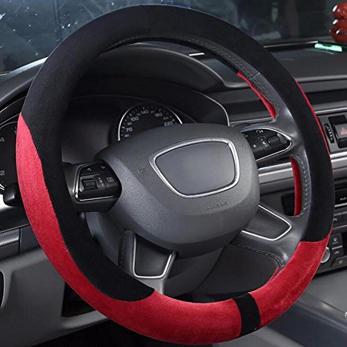 MIAO Schutzfolien von Lenkrad, Winter rutschfeste weiche bequeme warme Plüsch Auto Lenkradabdeckung / Car Interior Supplies, schwarz + rot , 36cm