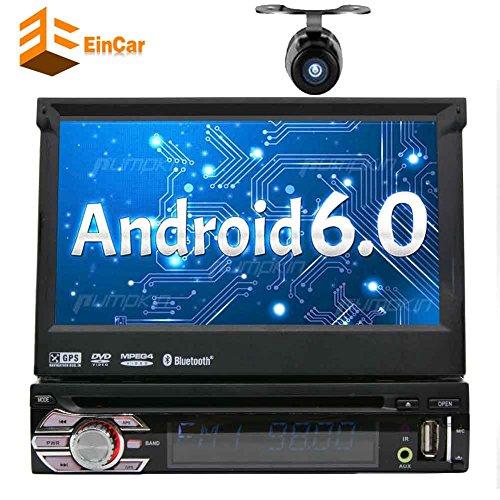EINCAR 7 in 1-DIN Android 6.0 Auto-Stereo-Receiver mit Bluetooth und GPS - Pop-Out-Touch Screen Motorisierte Slide-Out-Anzeigeschirm mit WiFi Web Browsing, App herunterladen und CD/DVD-Player