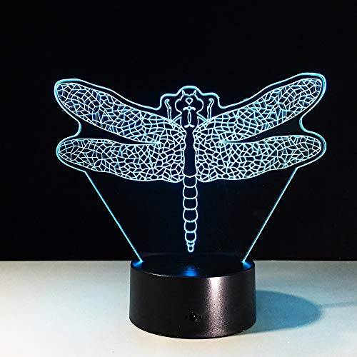 3D Optical Illusion Table Lamp Intelligent Home Night Lamp 7 -Color  Change,Dragonfly!