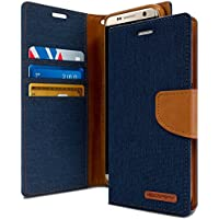 GOOSPERY Galaxy S8 Funda, [Drop Protection] reg; Canvas Diary Carcasa Libro de Cuero con Tapa y Cartera, Carcasa PU Leather con TPU Silicona Funda para Samsung Galaxy S8 - Navy Blue