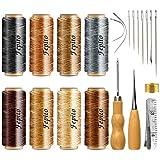 FEPITO 21pcs Hilo encerado de cuero 8 Color 264 Yardas 150D Cordón de hilo de coser de cuero con cuero Craft Kit de herramientas de mano para DIY Craft de costura