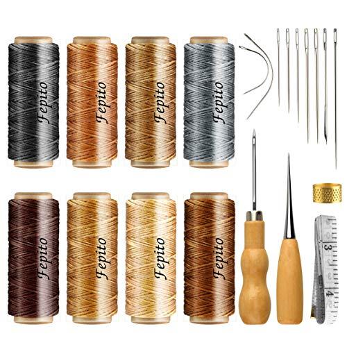 FEPITO Leder Wachsfaden Cord Nähen Wachsfaden für Lederhandwerk DIY Sewing Craft (Waxed Thread+Tools)