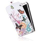 tinxi® Kunstleder Tasche für Samsung Galaxy S4 i9500 Flipcase Tasche Schutzhülle Rund bunte Schmetterling