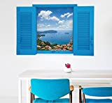 Skyllc® Bel cielo blu del Mediterraneo e nuvole bianche di forma finestra Adesivi da parete Home Decor adesivo