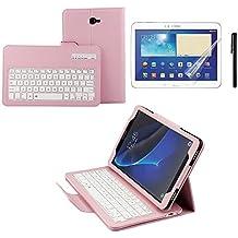 Kvago - Funda protectora con teclado inalámbrico extraíble para Samsung Galaxy Tab A 10,1, con Bluetooth, teclas ABS, piel sintética de calidad superior, para Samsung Galaxy Tab A Tableta de 10,1pulgadas modelo SM-T580 T581 T585 rosa rosa