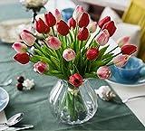Richera 10 Stück Real Touch Latex Künstliche Tulpe-Blumen für Hochzeits -Blumenstrauß und Haus-Dekor Gartendekoration , Simulation Real Touch Bunte Tulpe für Valentinstag Geburtstag Weihnachtsgeschenk (Rot)