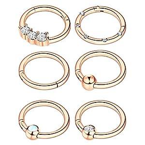 6 Stücke 16G Edelstahl Klapp Clicker Ring Nasen Ringe Opal Kristall CZ Lippe Ringe Creolen Piercing Schmuck, 6 Stile
