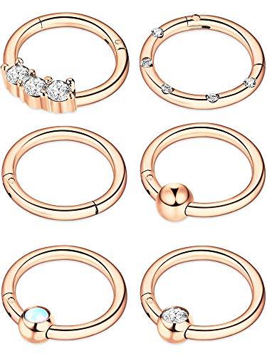 6 Stücke 16G Edelstahl Klapp Clicker Ring Nasen Ringe Opal Kristall CZ Lippe Ringe Creolen Piercing Schmuck, 6 Stile (Rose Gold)