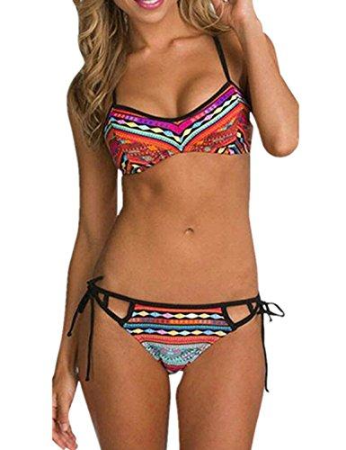 Ninimour Donna 2pcs Costumi da Bagno Tie Dye Stampa Azteca Swimwear (M, Rosso)